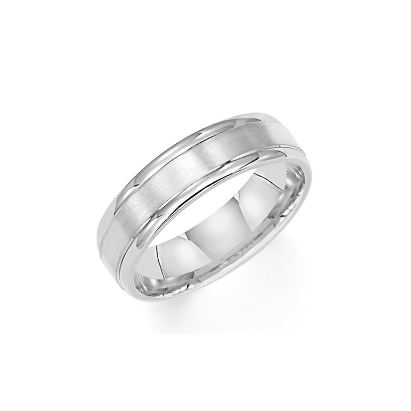 Frederick Goldman 14KW Brushed & Polished White Gold Wedding Band