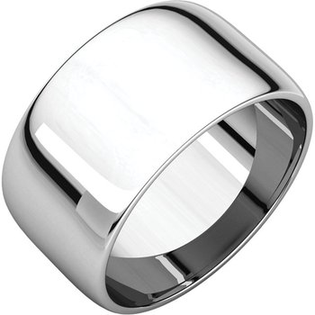 14K White 10mm Half Round Light Band