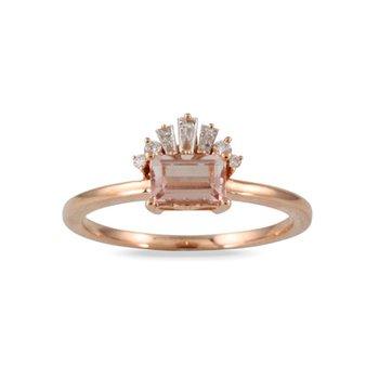 Morganite & Diamond Ring 18KR