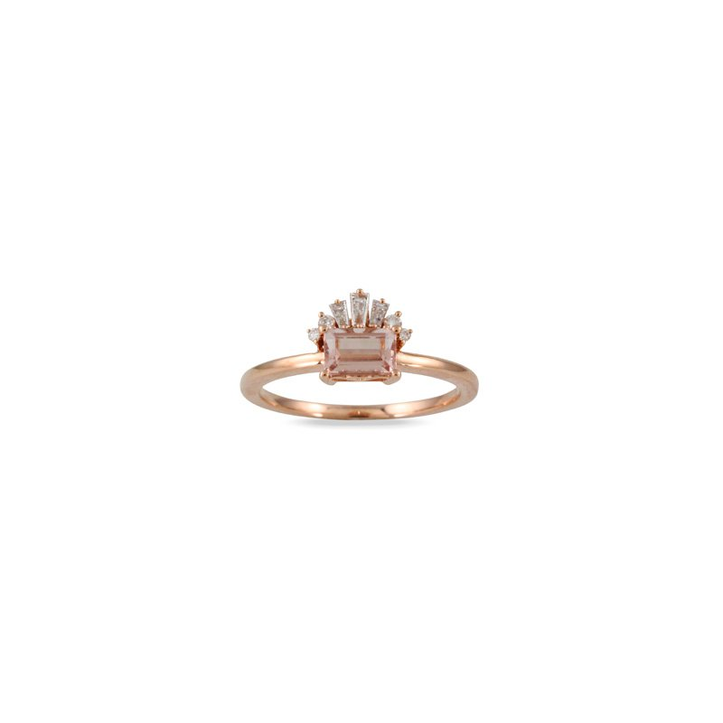 Doves Morganite & Diamond Ring 18KR
