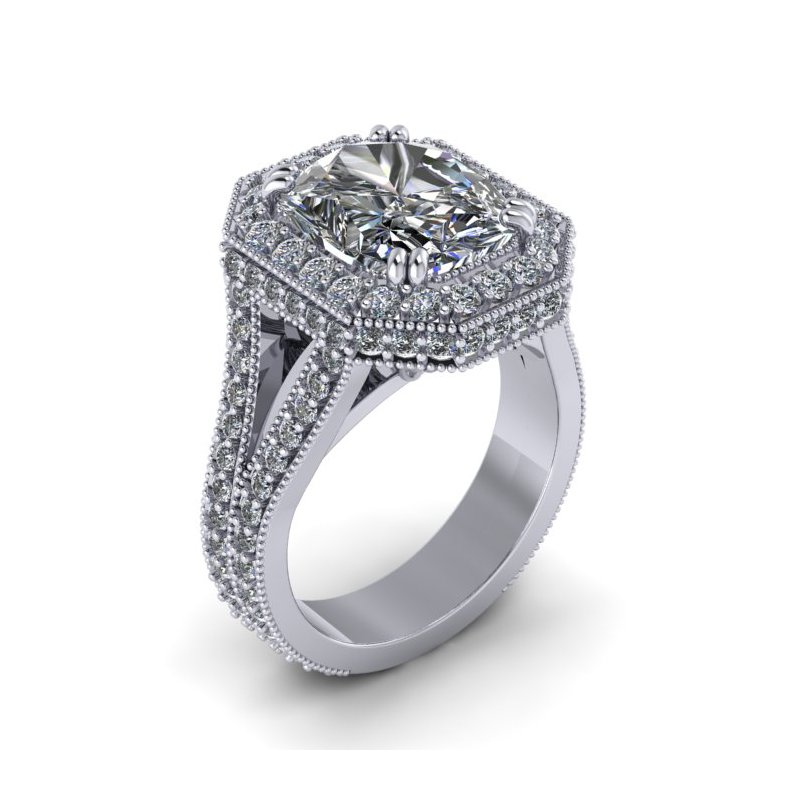 Lunaria Split Shank Halo Ring - Custom Ring