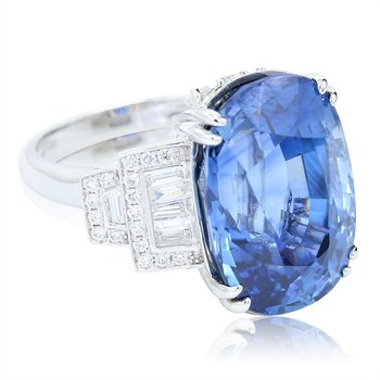 Art Deco 25.59ct Sapphire & Diamond Ring