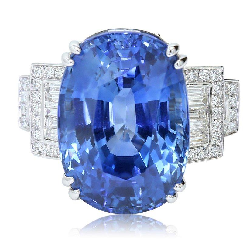 Yael Designs Art Deco 25.59ct Sapphire & Diamond Ring