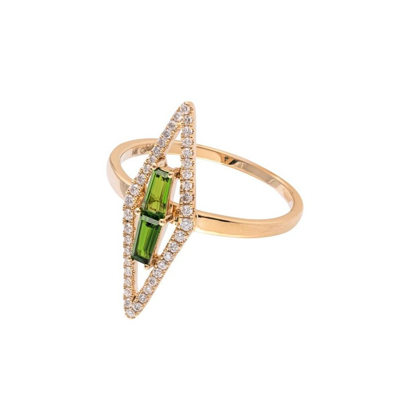Sophia by Design Kite Shape Chrome Diopside Ring 14KY