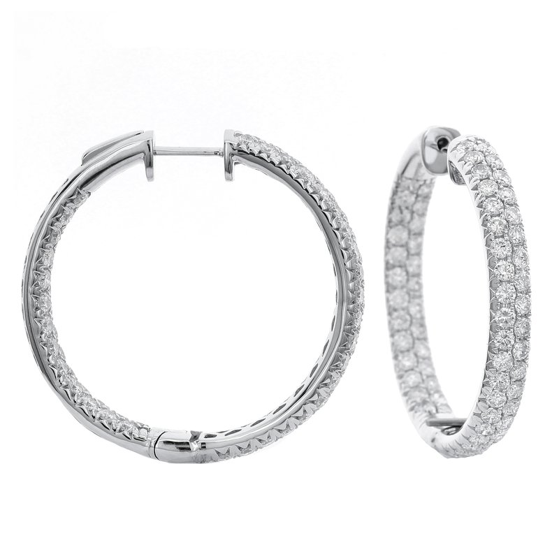 Odelia Jewelry Pave Inside Out Hoops 18KW