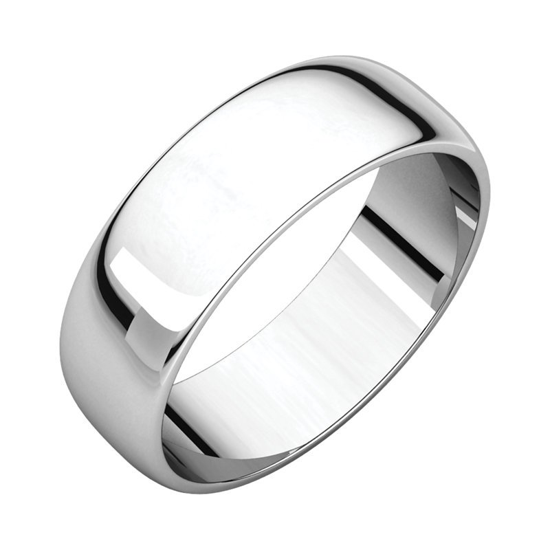 Gallery Designs 14K White 6mm Half Round Light Band