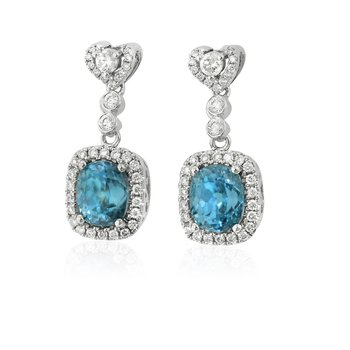 Blue Zircon & Diamond Dangles 18KW