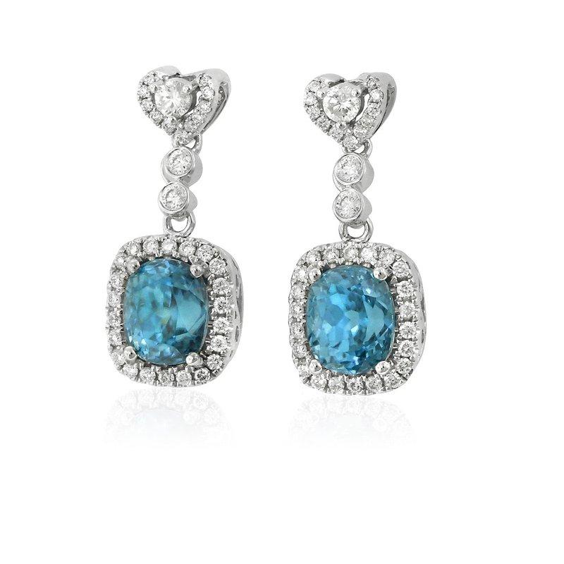 Yael Designs Blue Zircon & Diamond Dangles 18KW