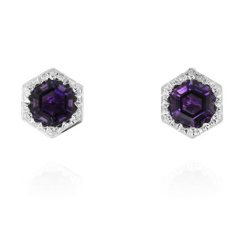 Hexagon Amethyst Earrings 14KW