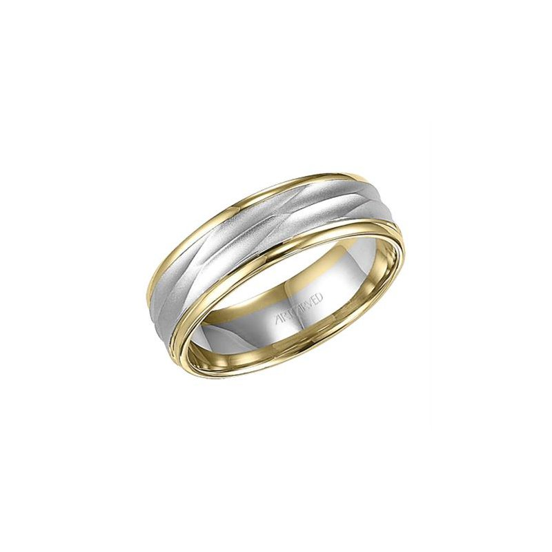 ArtCarved 14k Two-Tone Brush & Polish Wedding Band