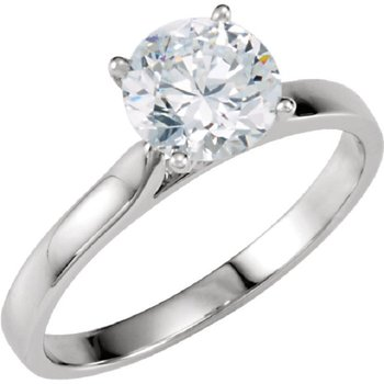 14K White 4-Prong Solitaire Setting Only