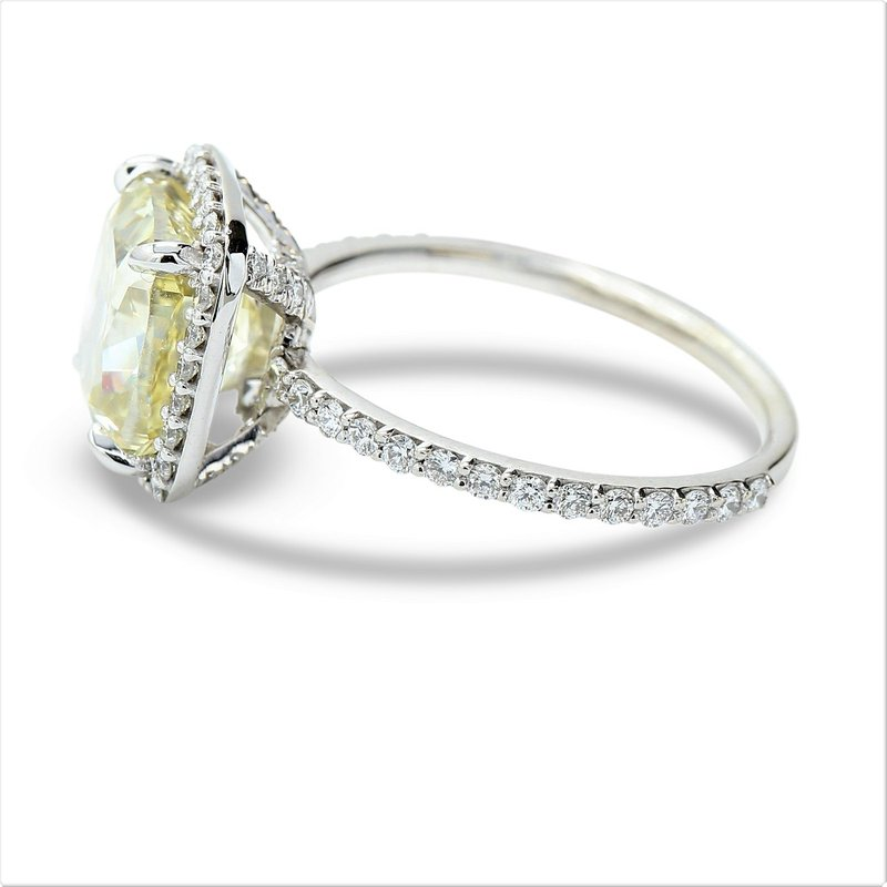 Lunaria 4.01 Fancy Yellow Halo Engagement Ring