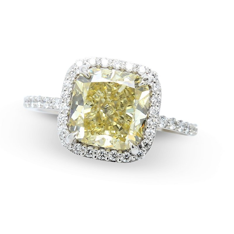 4.01 Fancy Yellow Halo Engagement Ring