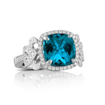London Blue Topaz Halo Ring 18KW
