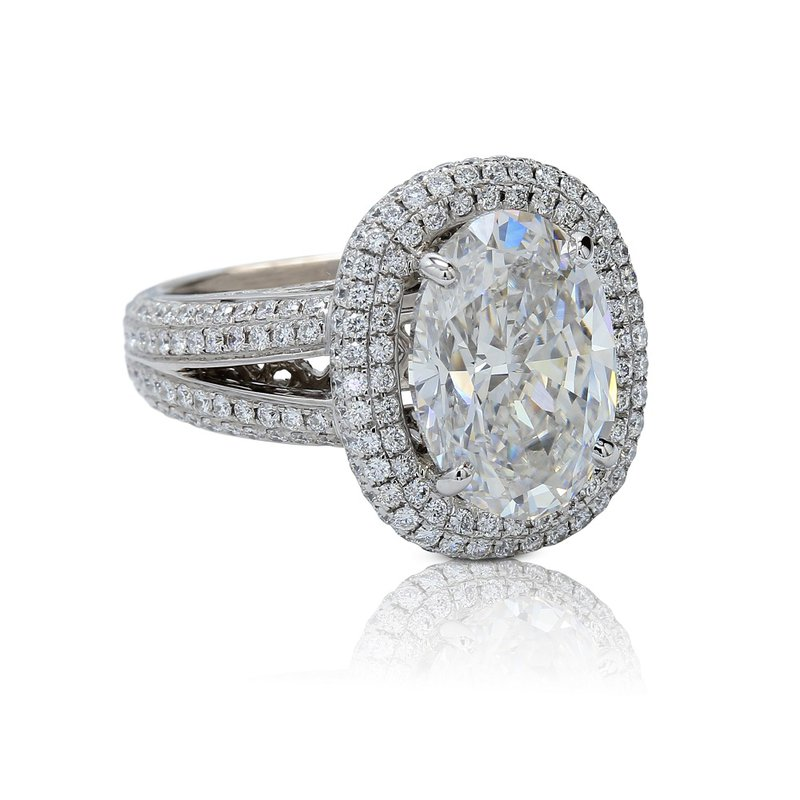 London Gold Designs 5.65ct Oval Halo Ring 18KW
