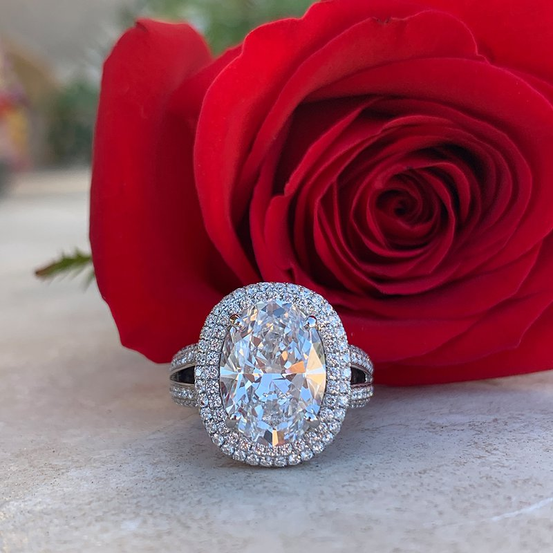 5.65ct Oval Halo Ring 18KW