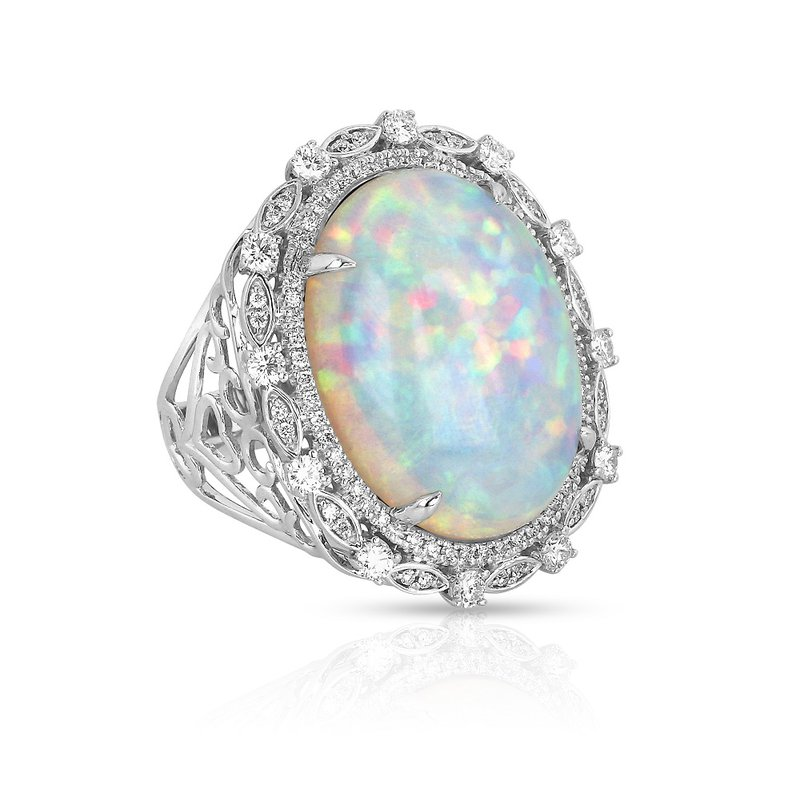 Yael Designs White Opal & Diamond Ring 18KW