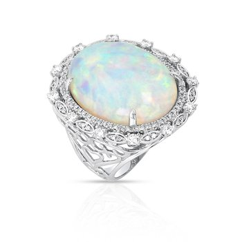 White Opal & Diamond Ring 18KW