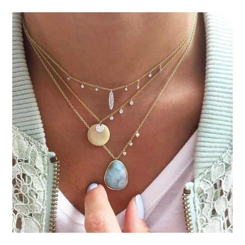 Meira T Diamond Dagger & Bezel Necklace