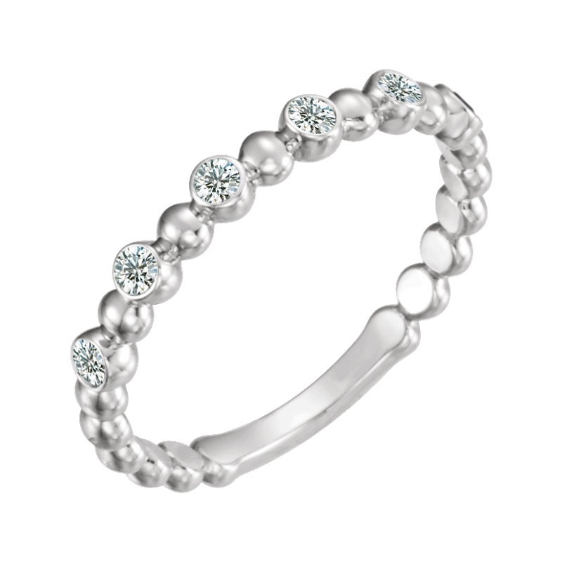 Gallery Designs Diamond & Bead Stackable Ring 14KY