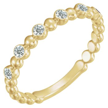 Diamond & Bead Stackable Ring 14KY