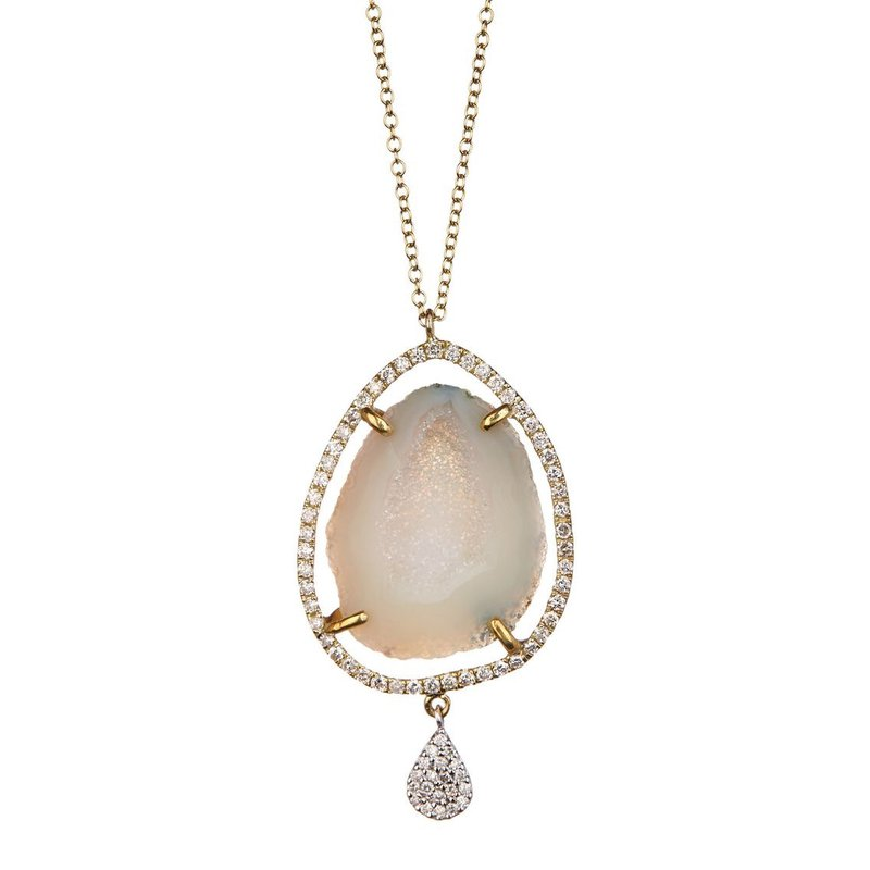 Meira T Geode Halo Necklace 14K
