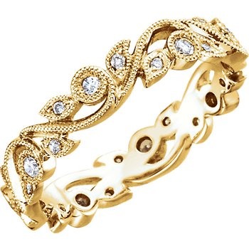 Scroll Diamond Eternity Band 14KY