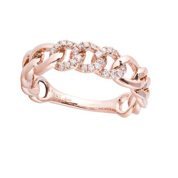 Open Diamond Link Ring 14KR