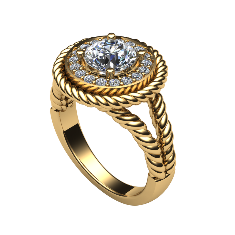 Daniels Designs Rope Halo Engagement Ring