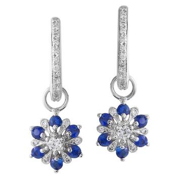 Flower Diamond & Sapphire Dangles 14KW