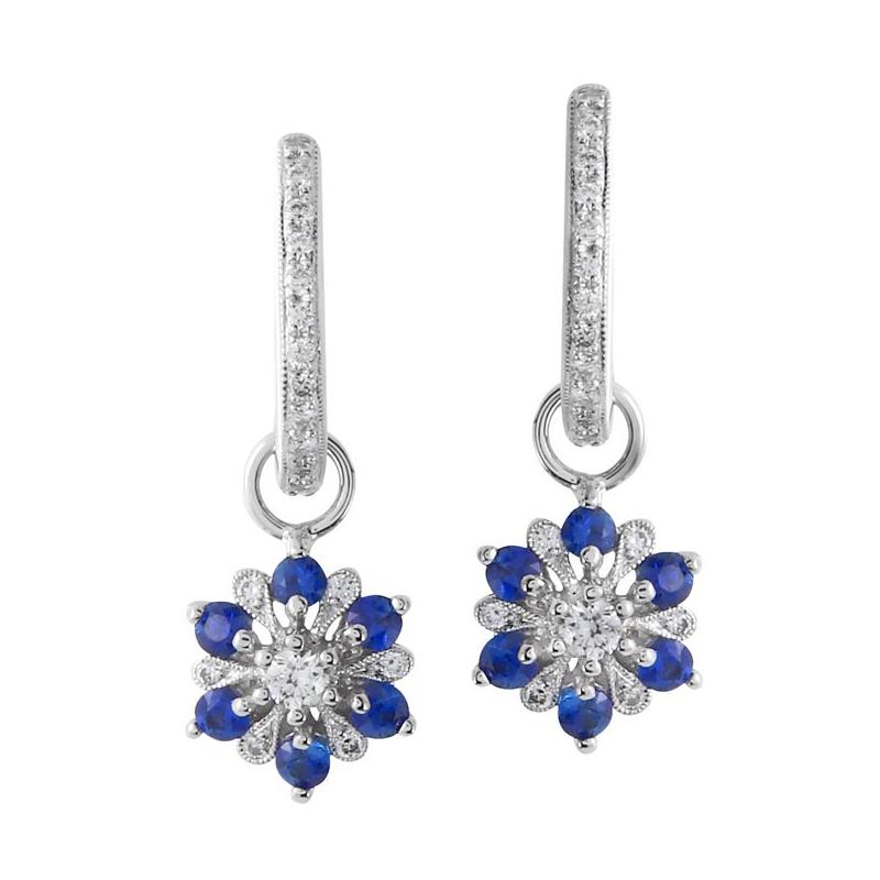 Beverley K Flower Diamond & Sapphire Dangles 14KW