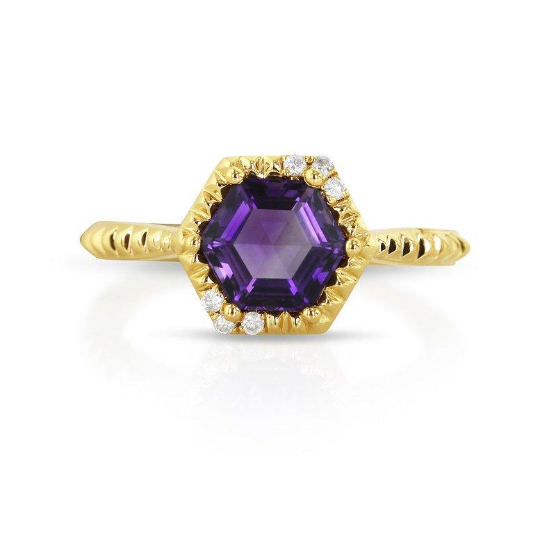 Yael Designs Amethyst & Diamond Ring
