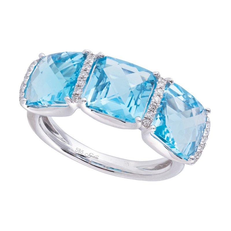 Sophia by Design Blue Topaz & Diamond Ring 14KW