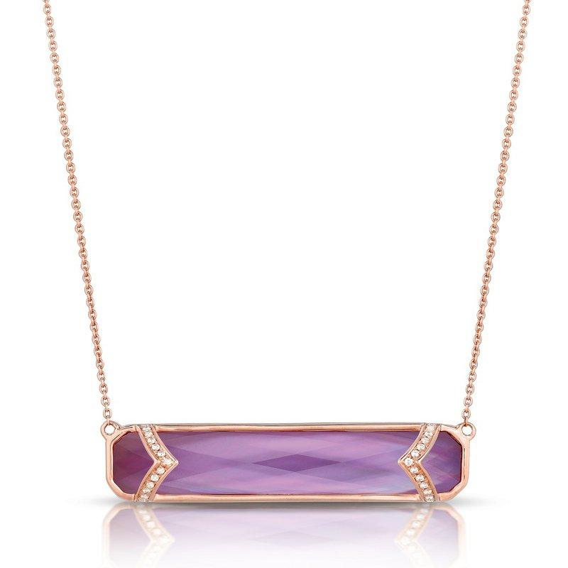 Doves Viola Amethyst & Diamond Bar Necklace 18KR