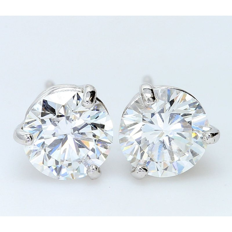 London Gold Designs 3.01 CTTW Round Brilliant Diamond Studs