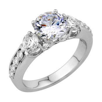 Three Stone Engagement Ring - Setting Only