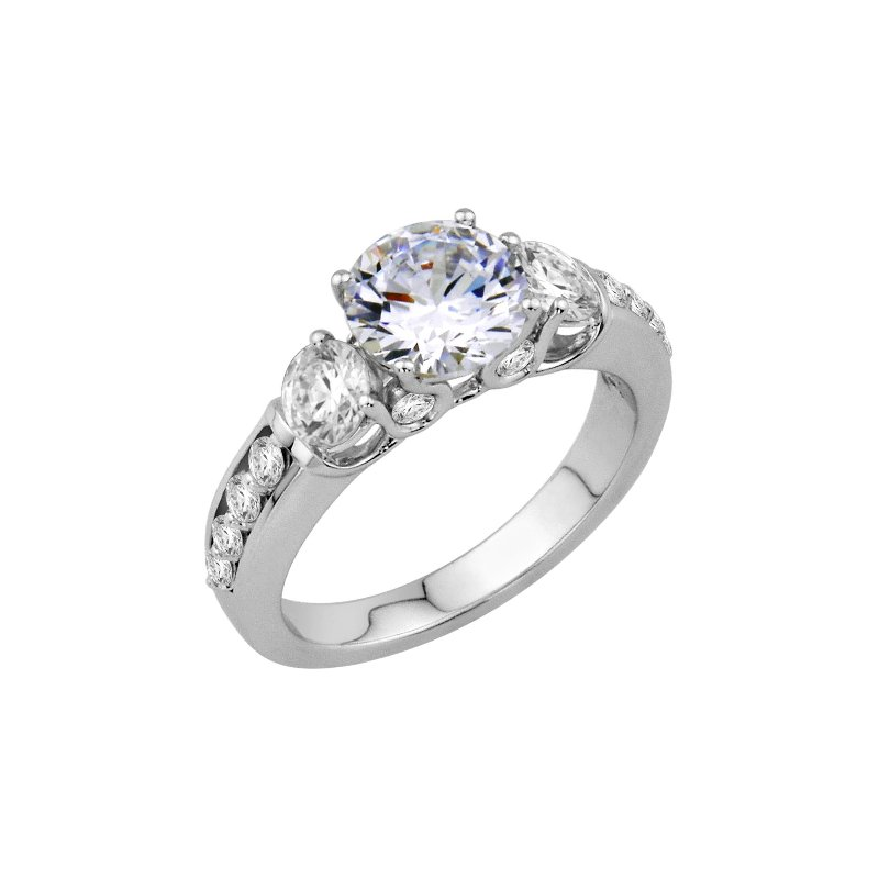 Isadora Three Stone Engagement Ring - Setting Only