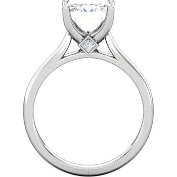 14K White Solitaire Setting Only