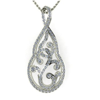 Open Pear Shape Scroll Pendant