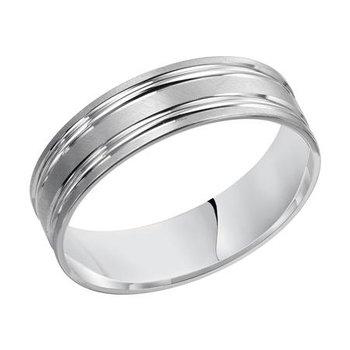 14KW Brushed & Polished Comfort Fit Engraved Wedding Band
