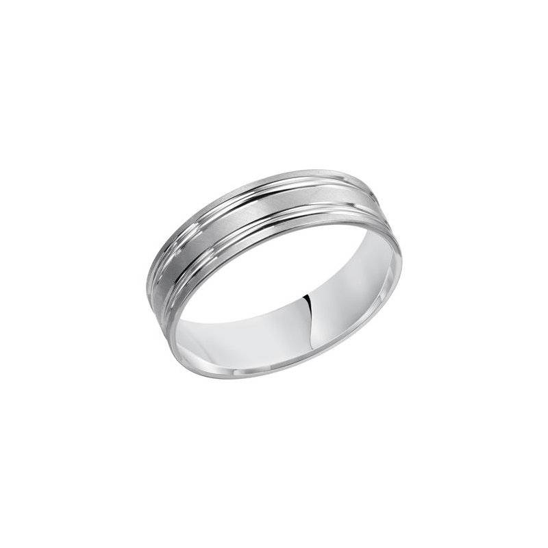 Frederick Goldman 14KW Brushed & Polished Comfort Fit Engraved Wedding Band