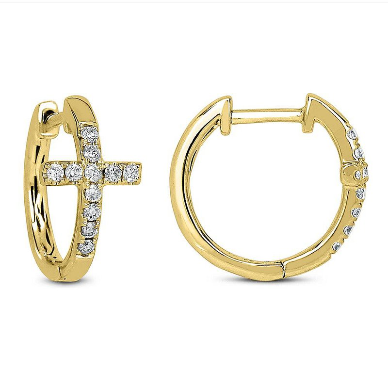 Odelia Jewelry Diamond Cross Hoops 14KY