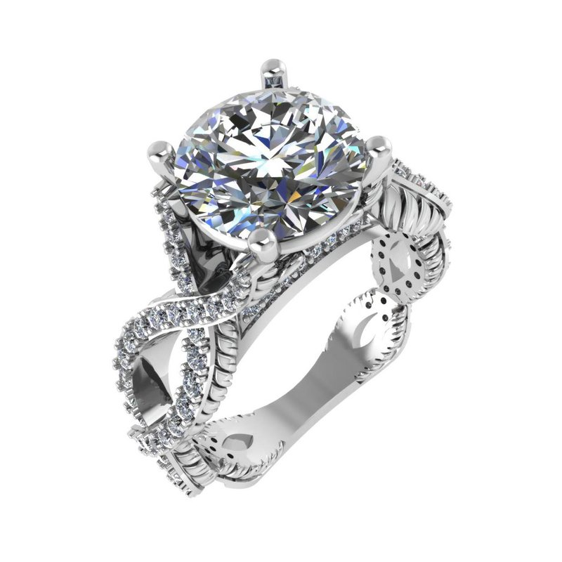 Isadora Crisscross Engagement Ring 18KW - Setting Only