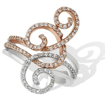 Swirl Diamond Ring 14K
