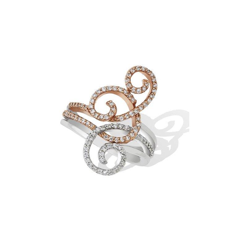 London Gold Designs Swirl Diamond Ring 14K