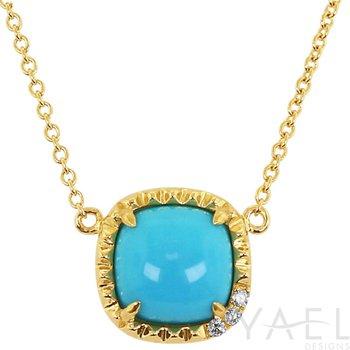 Cushion Turquoise Necklace 14KY