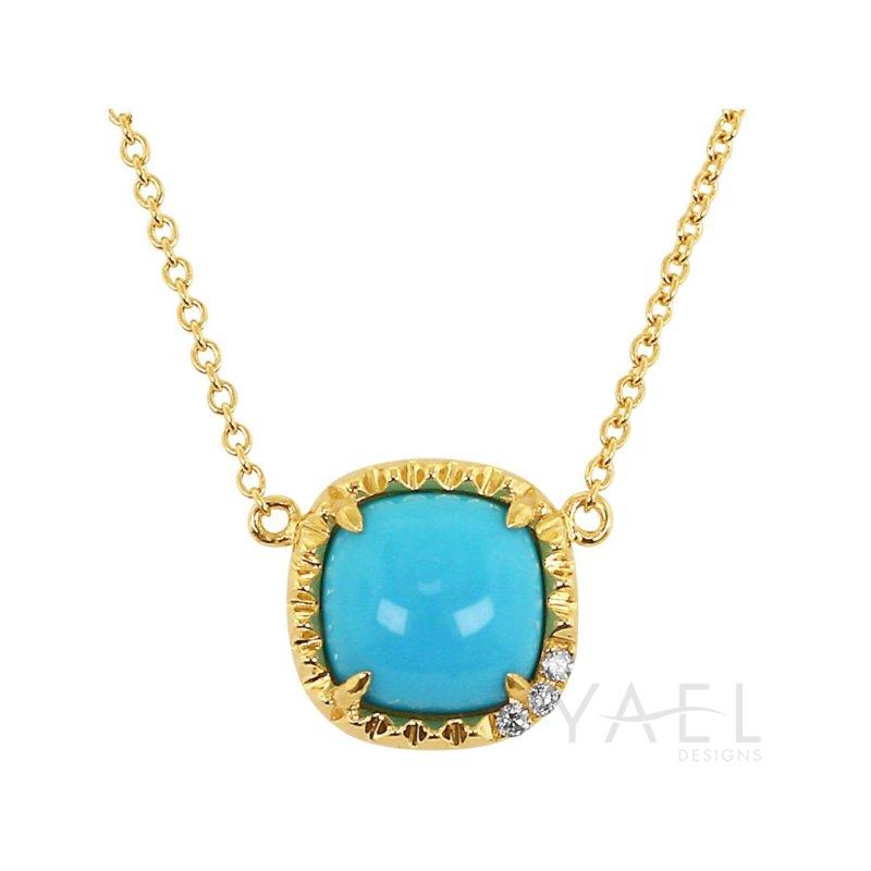 Yael Designs Cushion Turquoise Necklace 14KY