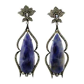 Sapphire and Moonstone Dangles