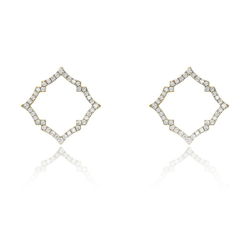 Yael Designs Open Quatrefoil Earrings 18KY