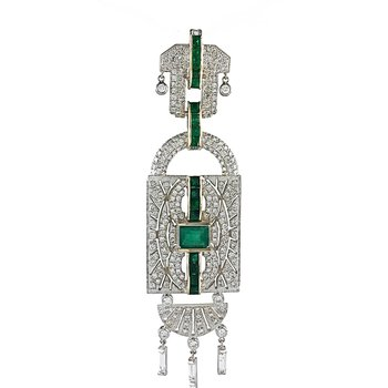 Art Deco Emerald & Diamond Pendant
